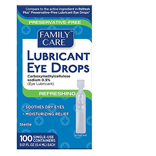 Family Care Refreshing Lubricant Eye Drop Single Use Vials 1 Pack (100 Count)
