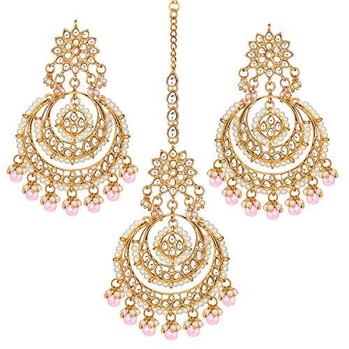 Aheli Bollywood - Pendientes de estilo étnico Chandbali Maang Tikka para mujer rosa