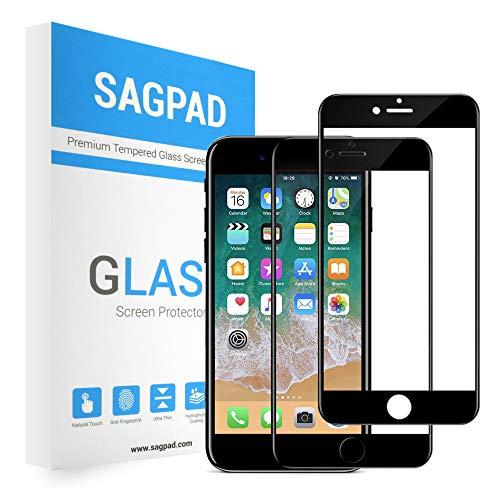 [2 Piezas] Cristal Templado para iPhone SE 2020, Cubierta Completa Vidrio Templado 9H Protector Pantalla, Anti-Huella Digital, Anti-Burbujas par SE 2020 (Negro)