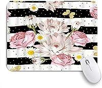 NIESIKKLAマウスパッド 花菊カモミールバラきらびやかな蝶ストライプ自然 ゲーミング オフィス最適 高級感 おしゃれ 防水 耐久性が良い 滑り止めゴム底 ゲーミングなど適用 用ノートブックコンピュータマウスマット