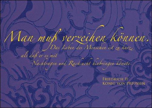 In 5-delige set: Veröhning wenskaart/spreukkaart met citaat van Friedrich dem Groen: men moet vergeven kunnen worden. Het leven van de mens is te kort als hij het met nadragen en roken zou kunnen doorbrengen. Friedrich II Koning van Pruisen