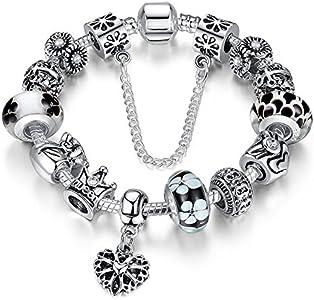 A TE® Charm Pulsera Abalorio Murano Cristal Vidrio Perlas con Cadena de Seguridad #JW-B110 (Negro 18cm)