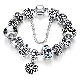 A TE® Charm Pulsera Abalorio Murano Cristal Vidrio Perlas con Cadena de Seguridad Chapado Blanco Oro #JW-B110 (Negro)