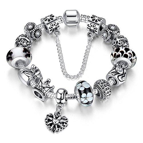 A TE® Bracciale Charms 'Fiore' Vetro beads queen Catena Sicurezza Regalo Donna #JW-B110 (Nero)