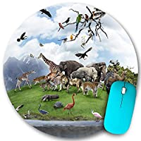 KAPANOU ラウンドマウスパッド カスタムマウスパッド、野生動物や鳥と自然のコラージュ、PC ノートパソコン オフィス用 円形 デスクマット 、ズされたゲーミングマウスパッド 滑り止め 耐久性が 200mmx200mm