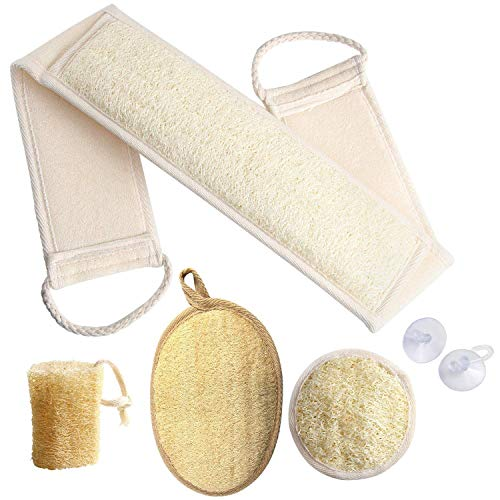 Loofah Body Scrubber - 4 PCS Exfoliating Loofah Back Scrubber Natural Luffa Shower Bath Sponge Exfoliating Washcloth Face Scrubber Pad for Deep Clean & Invigorate Your Skin (Free Suction Hooks)
