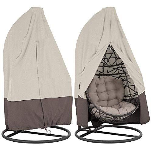 YYM Patio Hanging Chair Cover wasserdichte Gartenmöbel Swinging Egg Stuhlbezüge Garden Rattan Wicker Swing Chair Shelter Staub UV Regenbeständig-Single (Kaffee)