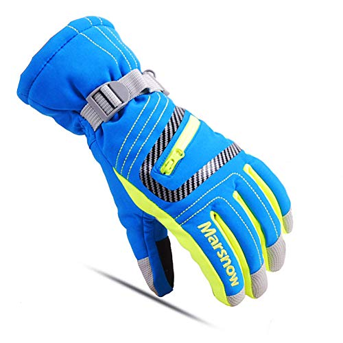 Kids Snow Ski Gloves Boy Girl Winter Stripe Touch Screen Waterproof Child Outdoor Cold Weather Snowboard Gloves Blue