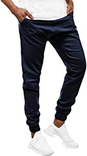 Mogogo Men's Casual Leisure Sport Pocket Solid Middle Waist Tracksuit Bottoms
