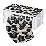 50Pcs Leopard Disposable Face_Mask for Women Men, Adults Colorful Cheetah Print Designer Breathable 3Ply Filter Face Protective Mouth_Covering, Dustproof Comfortable Face Bandanas (A)