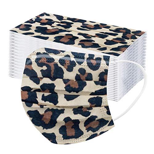 fasloyu 10/20/50/100 Stück 3-lagig Einmal Mundschutz mit 3D Leopard Motiv Baumwolle Staubdichte Atmungsaktiv Mund_und Nasenschutz Halstuch Bandana Waschbar für Damen und Herren