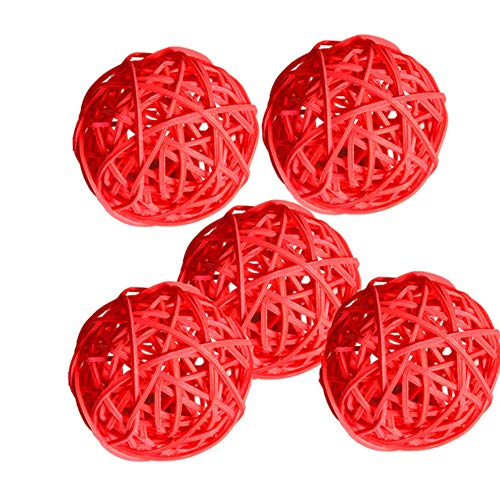 Zshhy Rattan Wicker Cane Dia 5cm Balls for Garden Patio Wedding Party Decoration DIY for Thailand Style String Lights-Red
