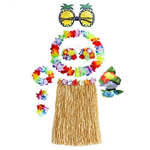 Set Costume Hawaiano ,Hula Gonna in Erba con Fiori Costume Set, Elastico Luau Erba e Hawaiano Fiori Braccialetti, per Hawaiian Decorazioni per Feste