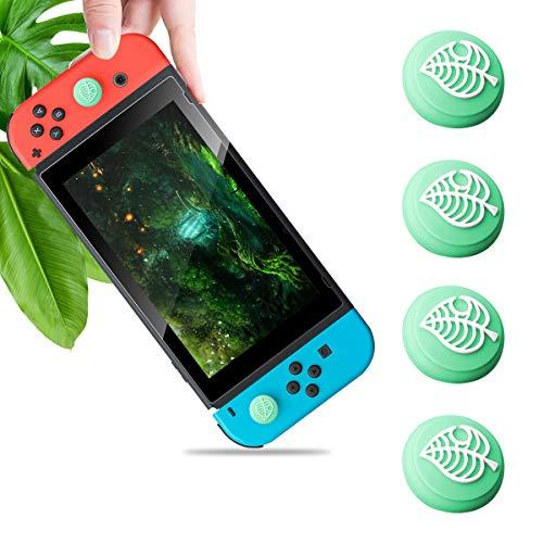 4PCS Silikon Joystick Kappen für Switch & Switch Lite, Süße Blätter Joystick Daumen Griff Kappen für Leaf Crossing New Horizons, Thumbstick Analog Kappen Abdeckung für NS Joy-Con Controller Zubehör