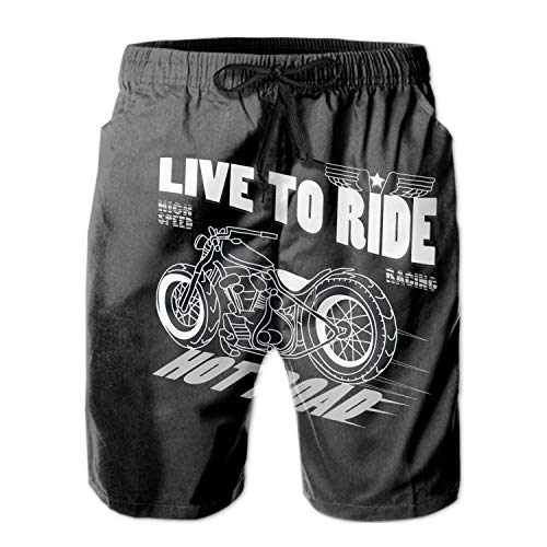 Men's Beach Swimming Trunks Motorcycle Racing Live to Ride Swimsuit Swim Underwear Boardshorts with Pocket