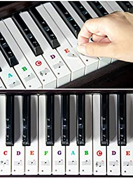 Piano Keyboard Stickers for 88/61/54/49 Key Colorful Large Bold Letter Piano Stickers Perfect for Kids Learning Piano Multi-Color Transparent and Removable