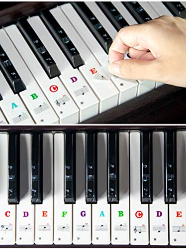 Piano Keyboard Stickers for 88/61/54/49 Key. Colorful Large Bold Letter Piano Stickers Perfect for Kids Learning Piano. Multi-Color, Transparent and Removable