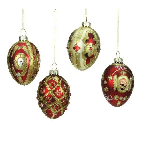 Heaven Sends @ Christmas Direct - Set di 4 palline di Natale a forma di uovo, decorate, dimensioni 7 cm, colore: Rosso/Oro