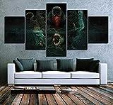 JINGMEI 5 Mural De Lienzo Combinado Impresión En HD Demonio Oscuro Sala De Estar Dormitorio Obra De Arte Estirada Y Enmarcada Pintura Al Óleo Lienzo Foto 150X80Cm