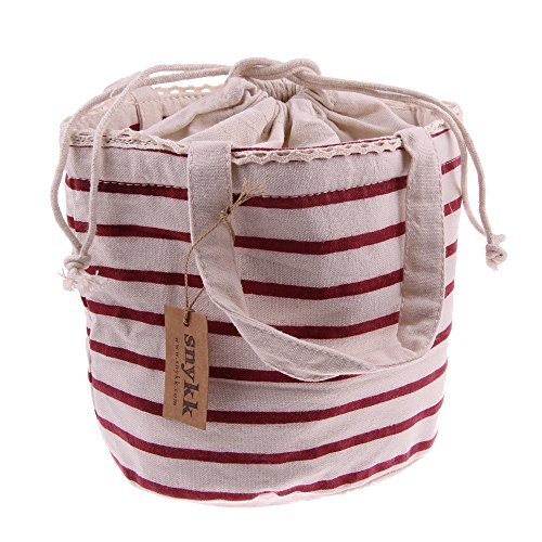 Snykk tas isothermische tas drankzak warmhoudtas strepen rood gestreept bio linnen vegan
