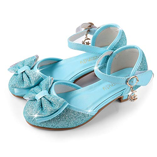 ReliBeauty Girl's Princess Costume Shoes Wedding Party Low Heel, Blue, 9M