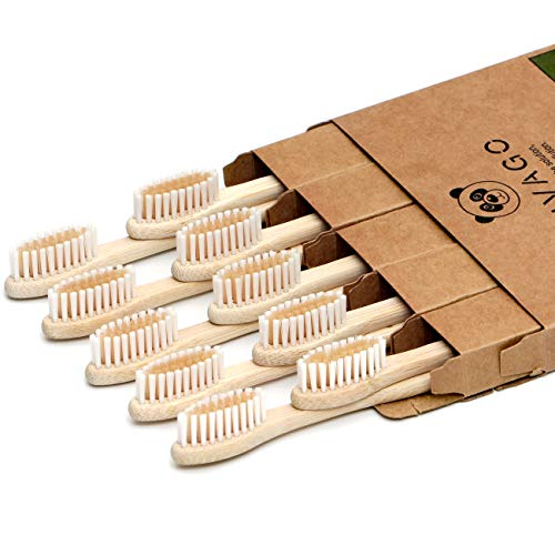 Biodegradable Bamboo Toothbrushes 10 Pack - BPA Free Soft Bristles Toothbrushes, Eco-Friendly, Organic, Compostable Natural Wooden Toothbrush