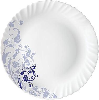 Larah by BOROSIL Opalware Dinner Set - 19 Pieces, White, Blue Eve Silk