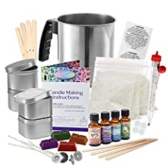 CANDLE MAKING STARTER SET: Each set is packed with care and includes everything you need to get 4 beautiful candles: 4 dye blocks, 4 fragrances, 4-8 oz soy wax bags, melting pot, thermometer, 2 round candle tins, 2 square candle tins with covers, 4 c...