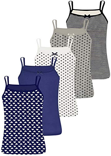 LOREZA ® 5 Stück Mädchen Baumwolle Unterhemden Spagettiträger (116-122 (6-7Jahre), Modell 1)