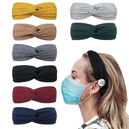 DRESHOW 8 Stück Damen Boho Stirnband, Stirnbänder mit Knöpfen für Masken Krankenschwestern Elastische Kopf Wickeln Niedlich Haarschmuck für Mädchen