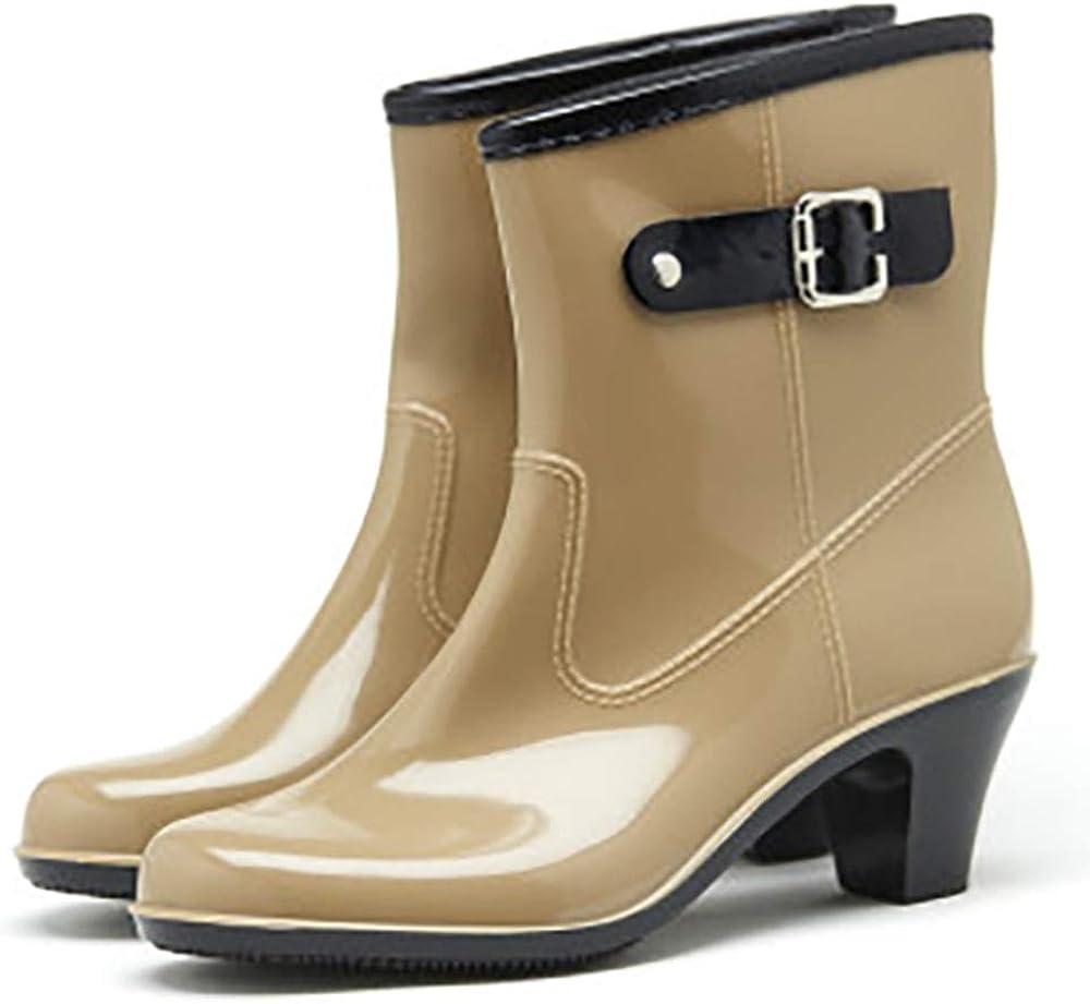 Tall Rain Boots for Women Waterproof Ultra Mid-Calf Fashion Mid-Calf Strap buckle Garden Shoes Footwear 815