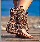 XQYPYL Sandalias Planas para Mujer, Sandalias de borlas con Punta de Clip y Gamuza, Botines de Verano Transpirables con Flecos,02,35