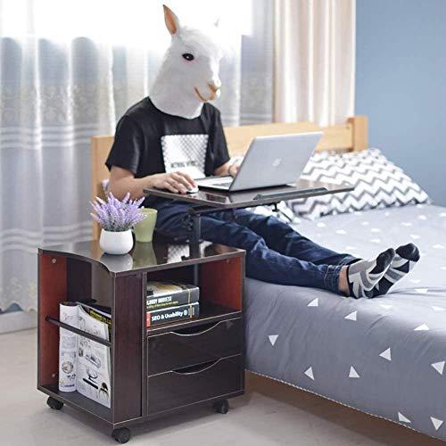 Móvil de noche Mesa auxiliar for el ordenador portátil de la tableta 2 cabecera del cajón del gabinete de almacenaje Con Open repisa lateral Tabla moderna Versátil Mesilla de noche blanca 65x45x15cm (