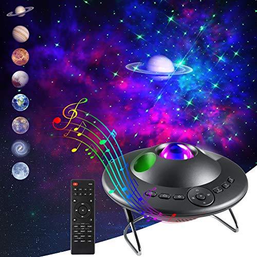 LED Sternenhimmel Projektor mit 8 Planeten, ZOTO Sternenlicht Projektor Lamp mit Fernbedienung/Musikspieler, 8 Natürliche Klänge /Timing-Funktion, Berührungssteuerung Atmosphäre Nachtlicht für Kinder