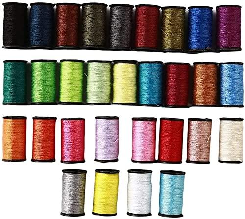 Ghlevo 30 PC Threads à Coudre de la Bobine Assortie d'arc-en-Ciel Polyper Fil à Coudre de la Machine à Broder Machine de Broderie (Color : 30 Colors)
