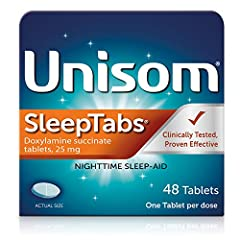 INCLUDES: One (1) bottle with 48 Tablets of Unisom SleepTabs Nighttime Sleep-aid; one tablet per dose FALL ASLEEP 33% FASTER*: Effective sleep aid helps you fall asleep faster* and stay asleep *versus placebo in a clinical study NON-HABIT FORMING: Sl...