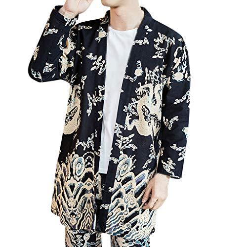 Qinhanjia-Mens Vintage Kimono Gedruckt Mantel Poncho Cardigan Leichte Lange Länge Drapieren Cape Coat Plus Size, Vintage Cardigan mit Großem Print (Schwarz, M)