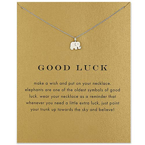 Idiytip Women Necklaces Sterling Silver Pendant Gold Plated Necklace Jewellery for Ladies Girls,Elephant Silver+Card