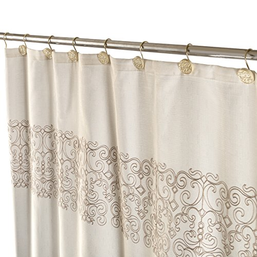 Creative Scents Decorative Fabric Shower Curtain for Bathroom - Includes a Free Bonus PEVA Clear Shower Liner - Heavy Duty, Water Repellent, Mildew Resistant, 72 x 72 inch Beige Curtain (Shannon)