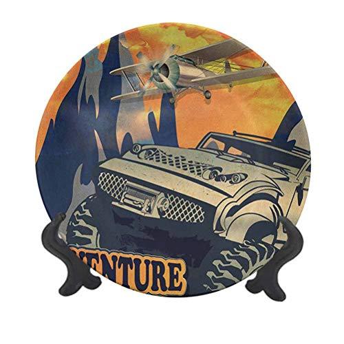 Plato decorativo de cerámica de 20,32 cm, diseño de Grunge retro de un coche grande con neumáticos enormes y biplano en las montañas plato de cerámica decorativo para mesa de Navidad