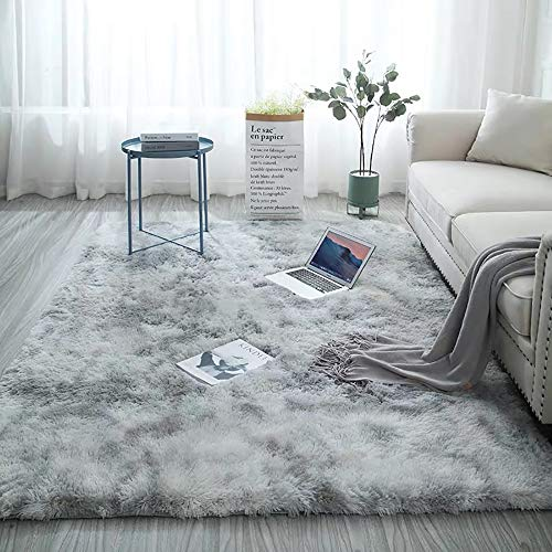 Blivener Soft Touch Area Rug Bedroom Anti-Skid Yoga Carpet Shaggy Rugs Fluffy Motley Tie-dye Carpets Hellgrau 160 x 200 cm