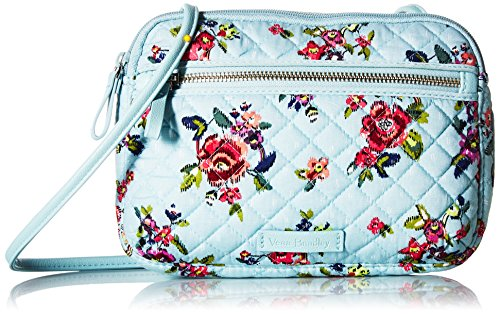 Vera Bradley Signature Cotton Little Crossbody Purse with RFID Protection, Water Bouquet