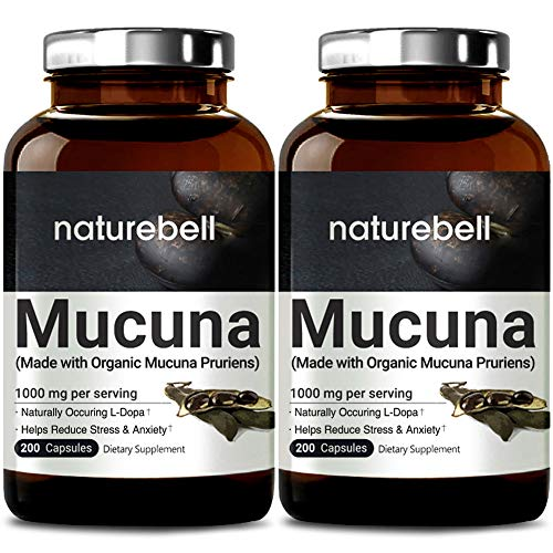 2 Pack Organic NatureBell Mucuna 1000mg Per Serving, 200 Capsules, Contains Premium Mucuna Pruriens Seeds for Mood Mind and Brain Health, No GMOs, Made in USA