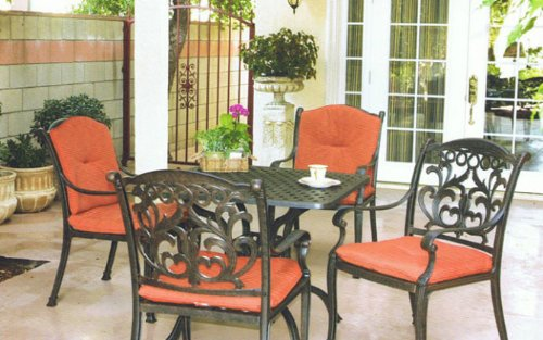 Hot Sale Heritage Outdoor Living Flamingo Cast Aluminum 5pc Bar w/ 36? Square Table - Antique Bronze
