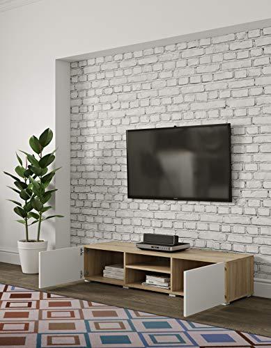 Temahome Banc TV Podium 140 2 portes, Rovere E Bianco, 140 x 42 x 31 cm (L-P-A)