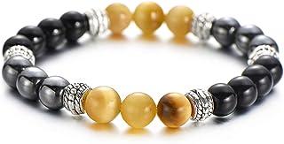 Pipitree Multicolor Tiger Eye Hematite Beaded Bracelets Natural Stone Stretch Bracelets for Women Men Fashion Jewelry