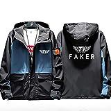 73HA73 Sudadera con Capucha y Cremallera Completa para LOL League of Legends SK Telecom T1 E-Sport Faker Jacket Sudadera Capa Cómoda de Unisex Coat (No Shirt),Blue,XL(175-180cm)