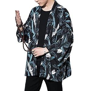 Lavnis Men's Kimono Cardigan Casual Cotton Linen Seven Sleeves Open Front Coat