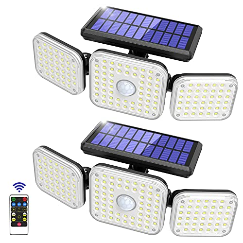 Solar Light Outdoor, 132 LED Motion Sensor Security Flood Lights 3 Adjustable Heads 3 Modes with Remote Control 270° Wide Angle Illumination IP65 Waterproof Wall Lights for Garage Yard Porch (2 Packs)
