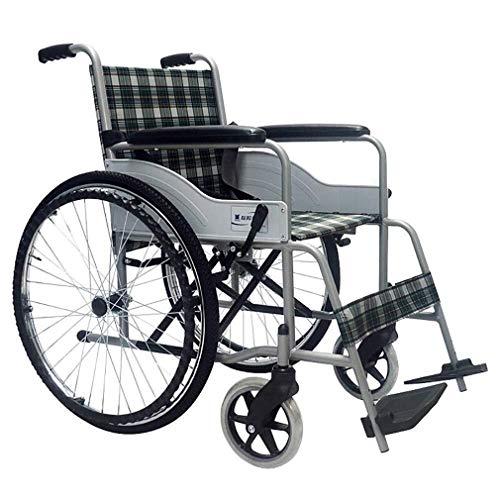 Wtbew-u Silla de Ruedas Plegable, cómodo Ligera Silla de Ruedas Plegable Transporte móviles de portátil Silla de Ruedas Silla de Viaje de Acero Espesado